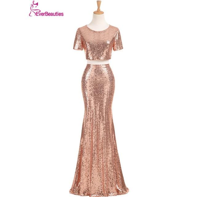 Aliexpresscom Buy Rose Gold Bridesmaid Dresses Long Sequins Robe De Demoiselles D Honneur Pour Mariage 2018 High Quality Wedding Party Dresses From
