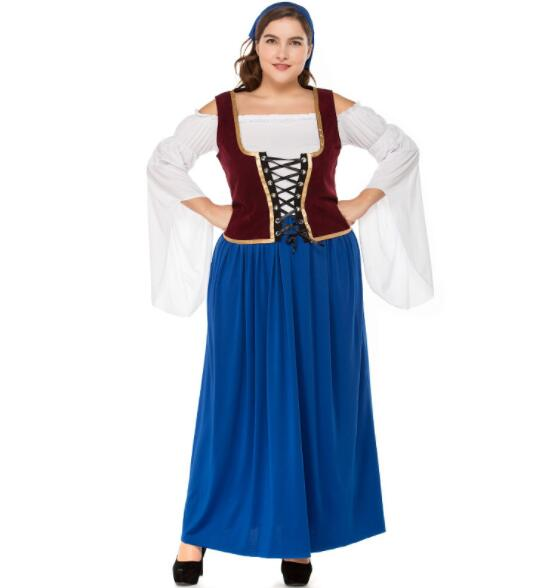 plus size Germany Bavaria Oktoberfest beer festival work clothes Costume Halloween Carnival Party Cosplay Fancy long dress A064