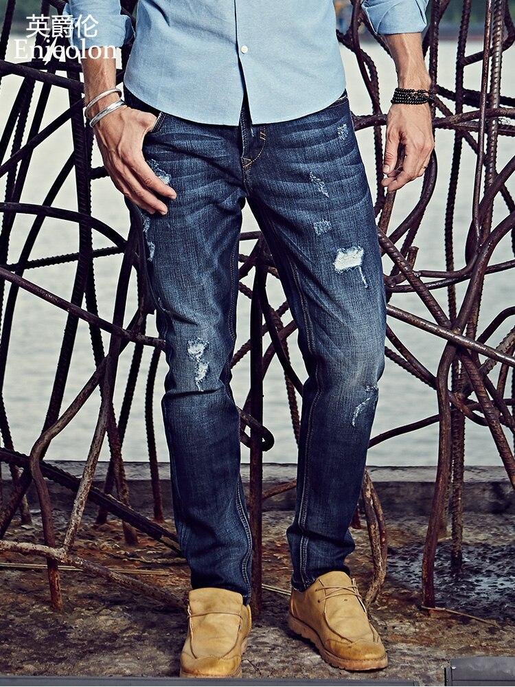 657c1a1a27b Comprar Calças jeans homens Enjeolon marca top qualidade longa e cheia de  algodão Causal roupas jeans Reta Magros do sexo masculino Calças buraco  NZ012 ...