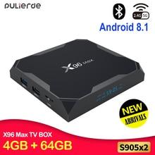 PULIERDE X96MAX 4 GB 64 GB Android 8,1 ТВ BOX Amlogic S905X2 4 K H2.65 1000 M 2,4 GHz/5 ГГц WI-FI смарт-top box Media Player BT4.0