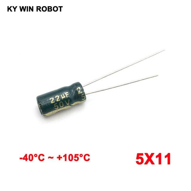 free shipping 50pcs Aluminum electrolytic capacitor 22uF 50V 5*11 105C Electrolytic capacitor