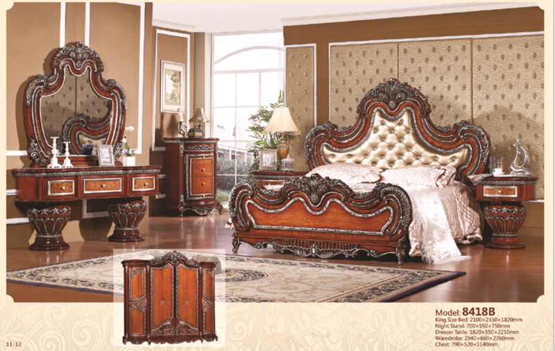 luxury suite bedroom furniture of europe type style including 1 bed 2 bedside table 1 chest a. Black Bedroom Furniture Sets. Home Design Ideas