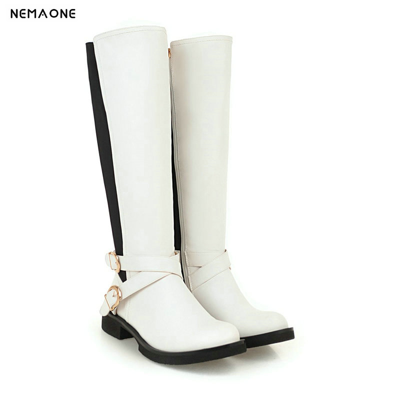 NEMAONE low heels women knee high western boots woman autumn winter ladies boots black white casual shoes woman large size 43 nemaone fashion women s lace up knee high boots lady autumn winter high heels shoes woman platform yellow black white high boots