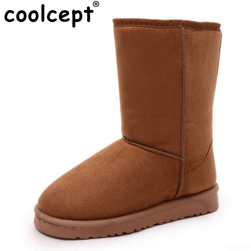 Coolcept Winter Shoes Women Thick Fur Mid Calf Snow Boots For Women Slip On Warm Plush Botas Winter Footwear Size 36-40