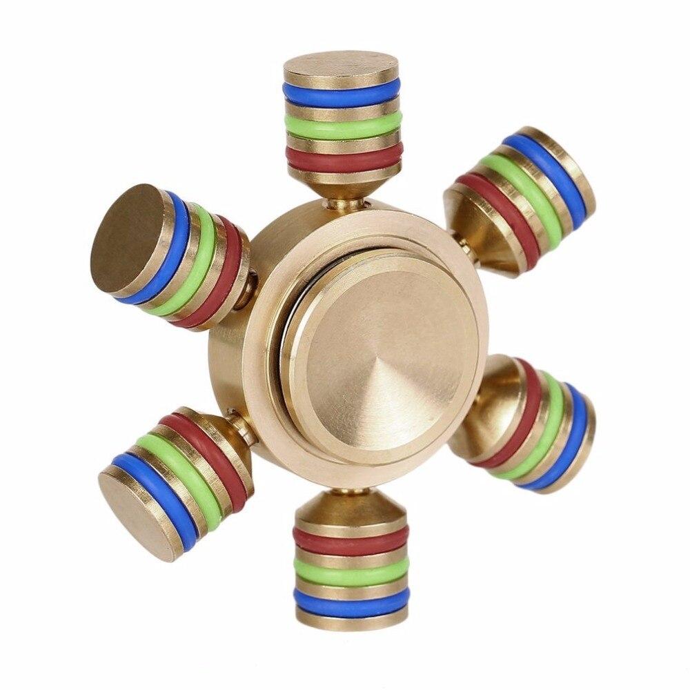 Ocday fidget spinner metal luminous attractive gyro brass hexagon finger for autism kid adults focus stress