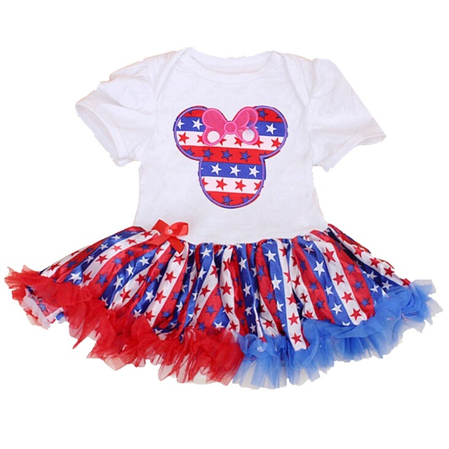 c6ad132c72ac Minnie 4th Of July Outfit Baby Rompers Party Dresses Girls Summer Overalls  Lace Romper Newborn Baby Girl Clothes Infant Clothing