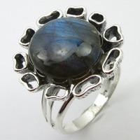 Silver Blue Round Labradorite Ring Sz 7 Wedding SilverStarJewel Jewelry Unique Designed