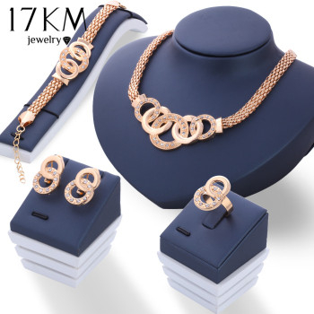 17KM New Vintage Jewelry Sets African Bead Beads Statement Necklace Earrings Bracelet Ring Women Wedding Party Accessories