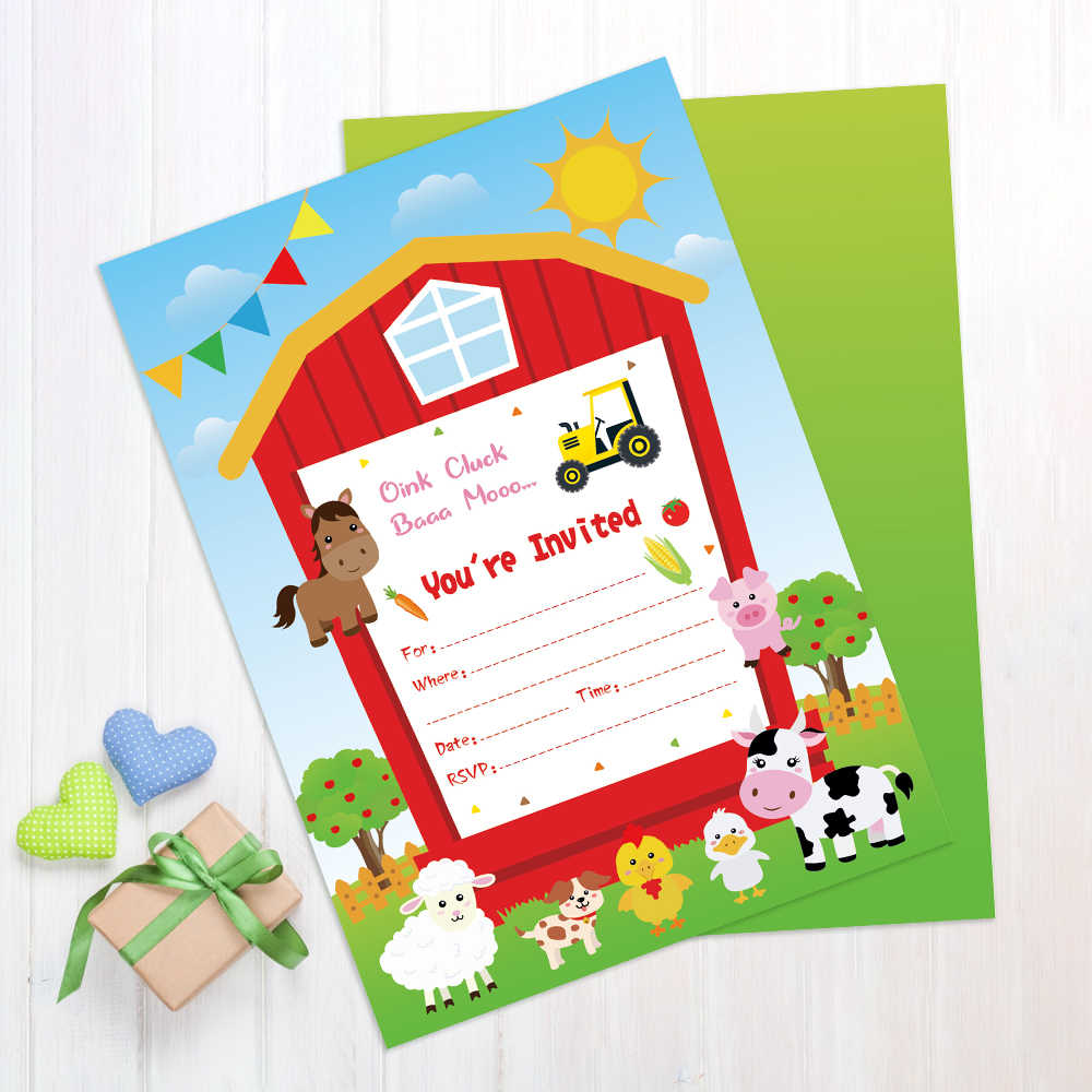 farm animals theme birthday party invitations cards decorations carton cow duck sheep dog paper invitations kids party favors