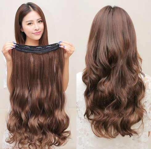 aliexpress long clip in hair extensions one piece 24 inches 60cm wavy black dark light