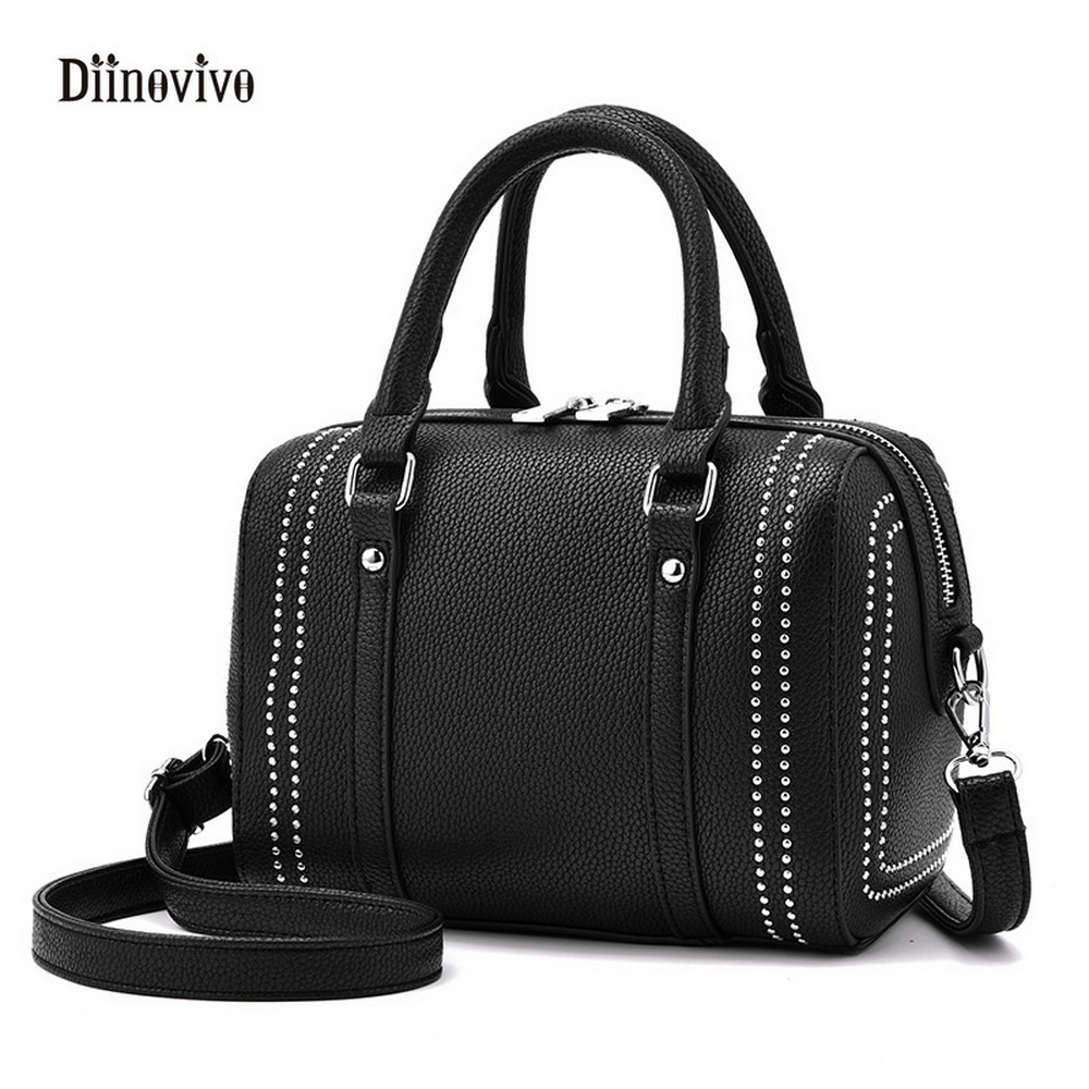 DIINOVIVO Fashion European and Americans Style Rivet Shoulder Bag Ladies Punk Handbag Luxury Leather Casual Boston