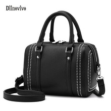 DIINOVIVO Fashion European and Americans Style Rivet Shoulder Bag Ladies' Punk Handbag Luxury Leather Casual Boston Bag WHDV0077