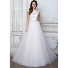 Romantic Princess Wedding Dress Lace Top Beaded Waist Floor Length Tulle sBridal Gowns Robe De Soiree