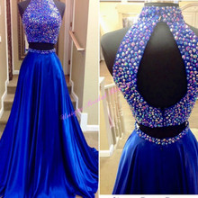 Beaded High Neck 2 Pieces Prom Dresses 2017 with Sexy Keyhole Back and Rhinestones Royal Blue Satin Prom Gowns