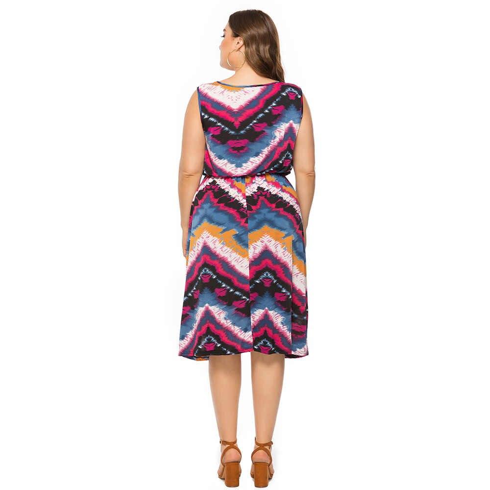 Wisalo/повседневное платье с принтом для праздника, большие размеры, женское платье с принтом, летний сарафан, женское платье, свободное Повседневное платье, большие размеры 5XL 6XL