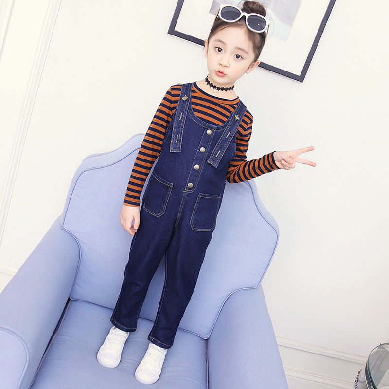 Toddler Girl Clothing Set For Girls 4 5 6 7 8 9 10 11 12 13 Years Kids Clothes Long Sleeve Striped Shirt + Denim Jumpsuit Teens sport suit for boy 5 6 7 8 9 10 11 12 13 14 15 years teenagers kids clothing set long sleeve print shirt pant 2pcs clothes