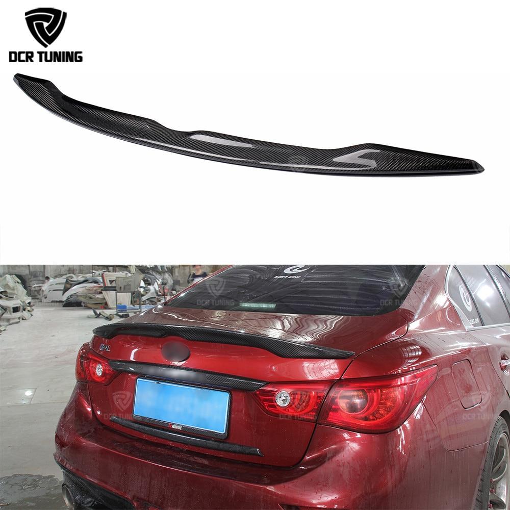 For Infiniti Q50 Q50S Carbon Spoiler 2014 2015 2016 2017 Q50 Carbon Fiber Rear Trunk Wing Spoiler Carbon Fiber for infiniti q50 q50s spoiler abs material car rear wing primer color rear spoiler for infiniti q50 spoiler 2013 2017