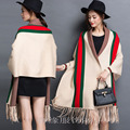 cashmere poncho coat women winter large red and green strip large fashion pashmina tassel with sleeve.