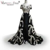 New cap tay áo đen Evening Prom Dresses slit váy lá Cao Cổ Tuyệt Vời Dài Arabic Cổ Điển Dubai buổi tối ăn mặc 2018