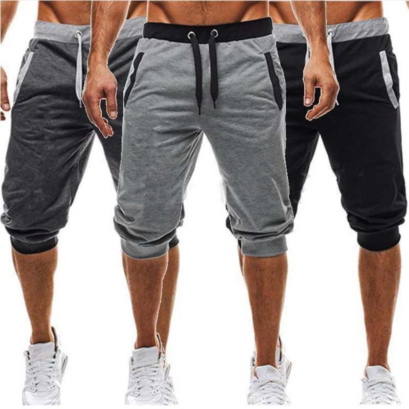 Summer Leisure Men Knee Length Shorts Color Patchwork Men Joggers Short Sweatpants Trousers Men Bermuda Shorts Roupa Masculina