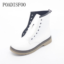 POADISFOO Winter shoes Women flat heel Round Toe Lace-Up Boots Thick Martin boots Ankle women's boots .DFGD-809