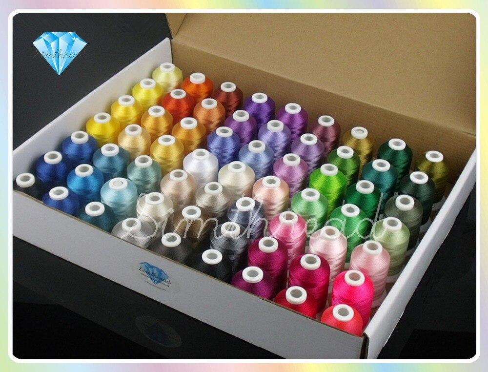 Simthread 61 irmão cores máquina de fios de bordado para o irmão pfaff cantor etc máquinas 1100y ea + 2 bônus + carta de cores + net