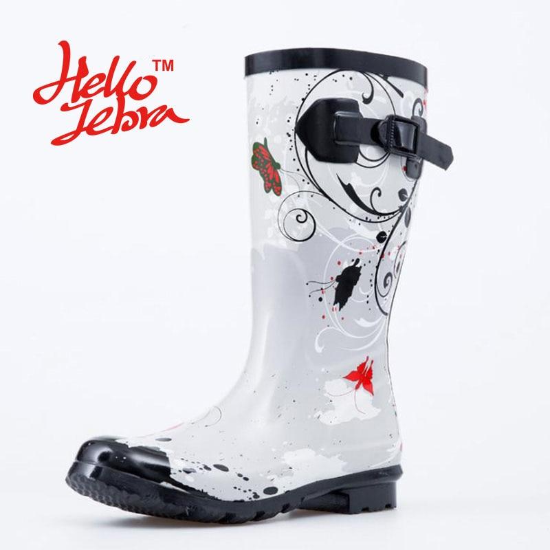 Women Rain Boots Ink Wash Painting Ladies Low Hoof Heels Mid Calf Slip Waterproof Round Toe Rainboots 2016 New Fashion Design
