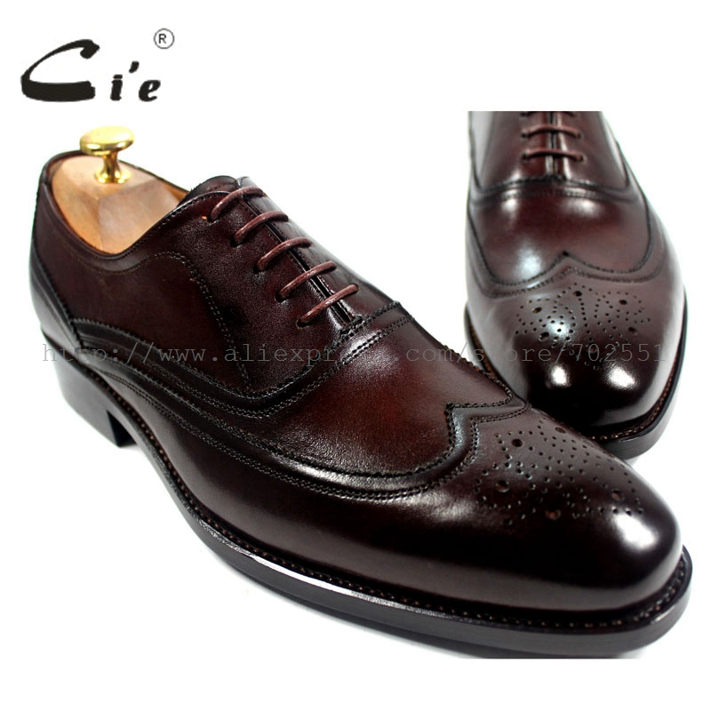 cie Free Shipping Narrow Shoe Last Full Brogues Handmade Genuine Calf Leather Men's Oxford Shoe Color Brown OX191 Goodyear Welt free free free at last