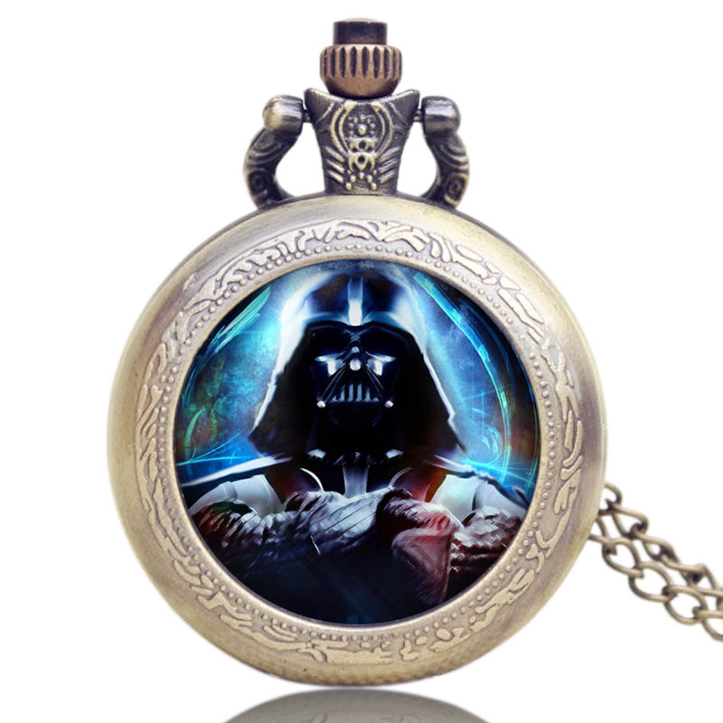 Hot Movie Star Wars Theme Pendant Quartz Pocket Watch Retro With Chain Necklace Black Knight Darth Vader Fob Wacthes Best Gifts