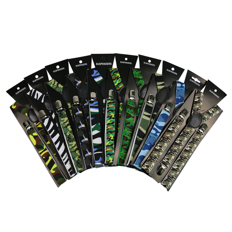 New Fashion 2.5 Cm Wide Vintage Military  Unisex Clip-on Camouflage Suspenders Elastic Braces  Outdoor  Suspenders