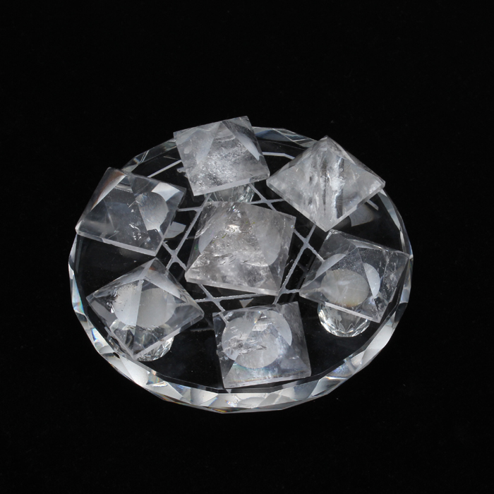 7 natural clear quartz crystal pyramid+stand