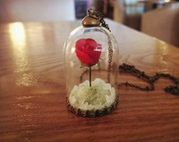 Original Design DIY Unique Custom Beauty And The Beast Necklace Glass Bottle Luminous Sand Rose Sweater