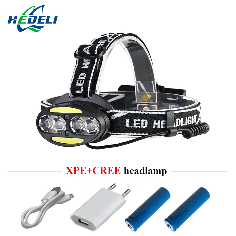 led headlamp IR sensor rechargeable led headlight 4 cree xml t6 2 cob head light torch usb 18650 head lamp flashlight headtorch maimu 8000lm usb power led headlamp cree xml t6 3 modes rechargeable headlight head lamp torch for hunting 18650 head light d14