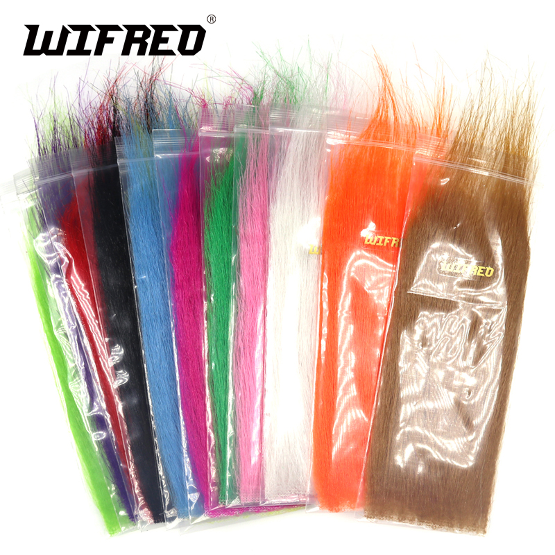 Wifreo 12packs Mix Color Long Fiber Fly Tying Craft Fur Streamer Bait Fish Fly Tying Material Furable Soft Synthetic Fiber wifreo 11cm 1 stainless micro tip fly tying scissors sharp