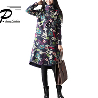 New Arrival Fleece Lining Thicken Warm A Line Dress 2018 Women Turtleneck Long Sleeve LooseTunic Floral Print Pullover Hot