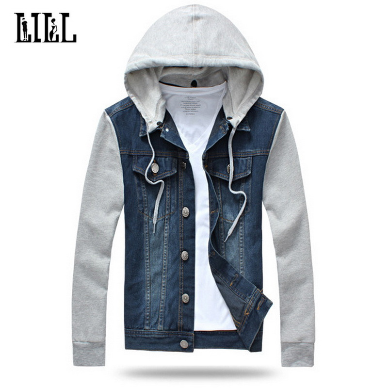 Mens Casual Jean Jacket With Removable Hat Men Spring Cotton Jackets Pockets Male Fashion Street Jeans Jacket Plus Size,UMA383