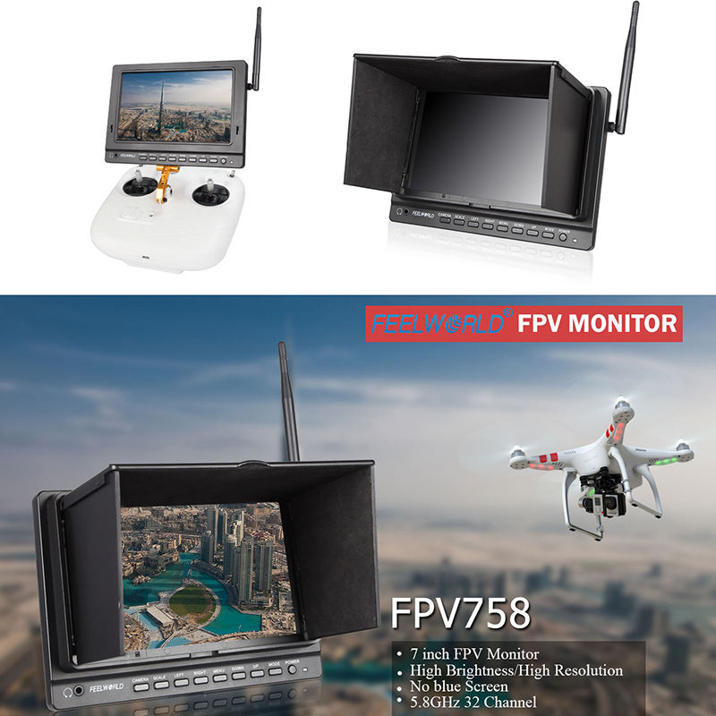 Free shipping!Feelworld FPV758 7 5.8G 32ch HD 1024x600 FPV HDMI Drone Camera Monitor Receiver 2pcs fpv 7 inch monitor displayer pvr 732 built in battery dual 32ch 5 8ghz diversity receivers hd screen free shipping