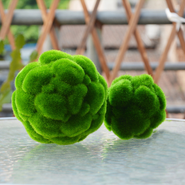 5 size round artificial grass ball simulation plant moss ball fake moss stone home party wedding