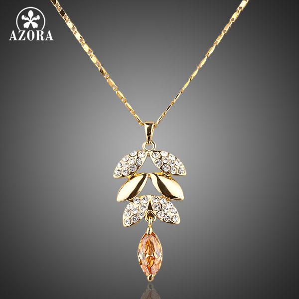 AZORA Gold Color Gold Color Austrian Crystals Leaves Design Pendant Necklace TN0002