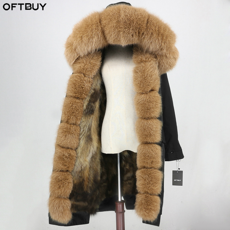 OFTBUY Waterproof Fabric Outerwear X-long Parka Winter Jacket Women Real Fox Fur Coat Natural Fox Fur Collar Hood Streetwear New