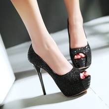 Plus size fashion gold silver prom shoes ladies peep toe platform super sexy high heels women comfortable wedding pumps B-15