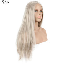 Long Blonde Straight Wig Lace Front Synthetic Ash Platinum Blond Glueless Hand Tied Heat Resistant Fiber Women Wigs Natural Hair