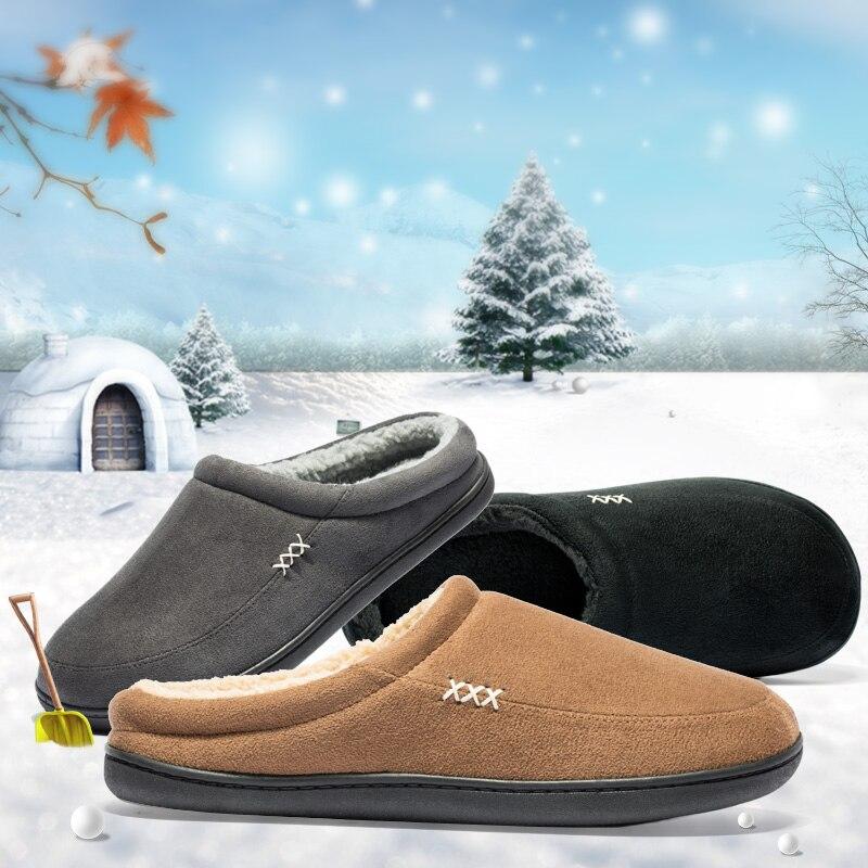 Pantoufles d'hiver pour homme adulte, chaussures chaudes en coton et peluche pour l'hiver, accessoires de marque, à porter à la maison, à la salle de bain, style australien, design solide