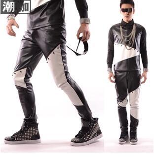 Desgaste 6xl Coreana Pu ¡m Pantalones Marea Y Blanco Europa Hombres Los Versión América Remachada Negro De Chaparejos Costura Casuales Z88qdO