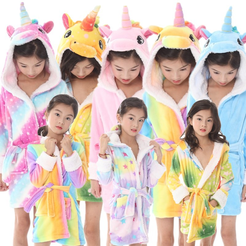 0684a1c07a Baby Animal Boys Girls Unicorn Bathrobe Children Flannel Hooded Towel Robe  Winter Sweet Warm Kids Sleepwear for 3 5 7 9 Years-in Robes from Mother    Kids on ...
