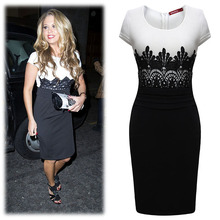 OL stitching lace dress evening Midi Bodycon Empire Vintage Crochet Lace Square neck Bodycon Fitted Shift Party Pencil Dress