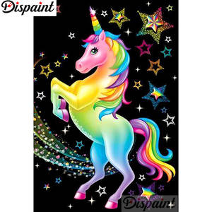 Dispaint 5D DIY Embroidery Cross-Stitch Diamond Unicorn-Home-Decor Square/round-Drill