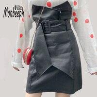 Monbeeph Fashion Slim High Waist PU Leather Skirt Office Lady Patchwork S XL Women Skirt Black with Sashes Skirts