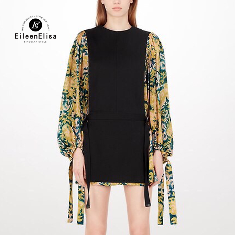 Yellow Flower Printed Dress High Quality Luxury Women Floral Printed Dress Summer with Sleeve
