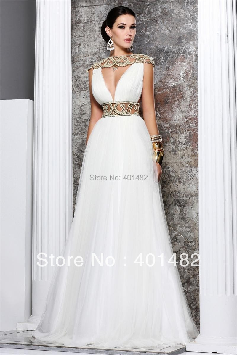 Actual Images White Pearls Beading Sash Boat Neck A-Line Cap sleeves Floor Length Prom Gowns Evening Dresses - Xizhinong Bridal Store store